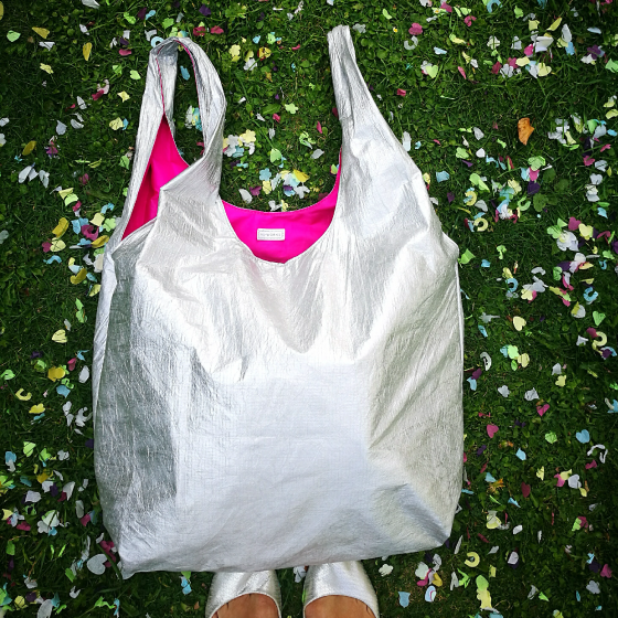 Silver Oversized Shopper Bag