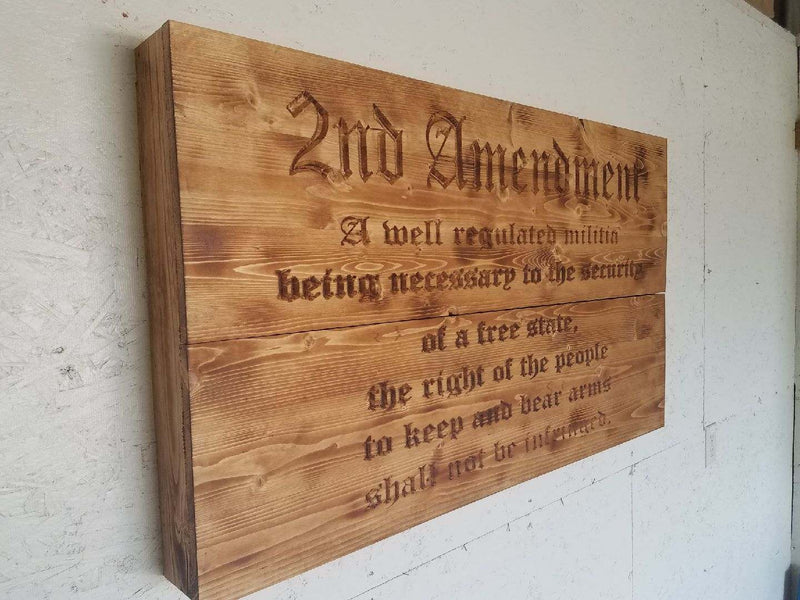 2nd Amendment Freedom Cabinet on Burnt, Hand Oiled Pine