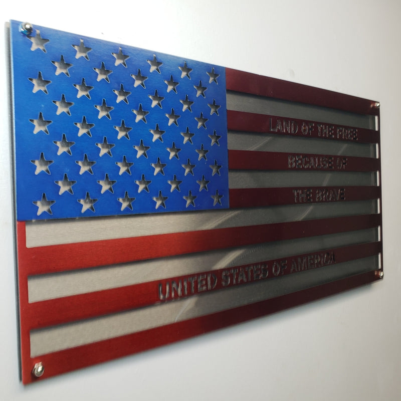 """Because of the Brave"" Double Layered US Flag"