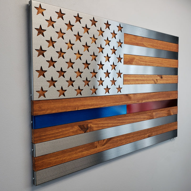 Hero Flag / Hand Oiled Pine and Polished Steel US Flag