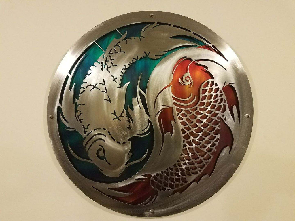 Painted layered koi fish ying yang 2 footer metal art for Koi fish metal art