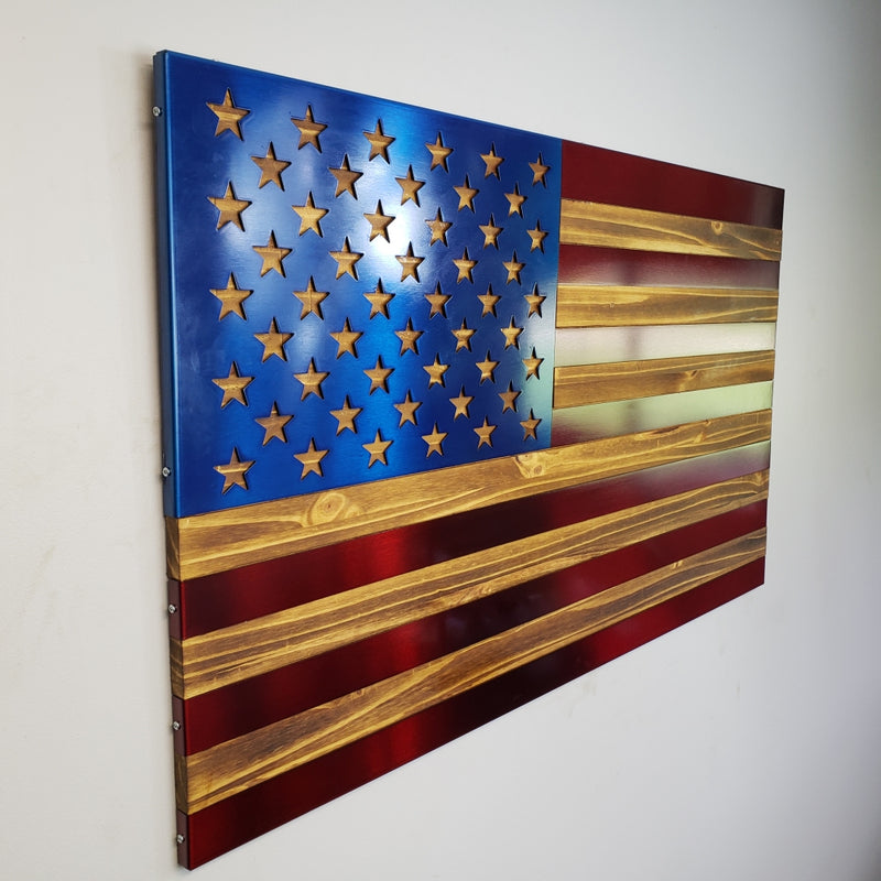 Burnt / Hand Oiled Pine and Polished Steel US Flag - RED AND BLUE