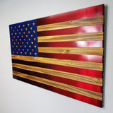 Red and Blue / Hand Oiled Pine and Polished Steel US Flag
