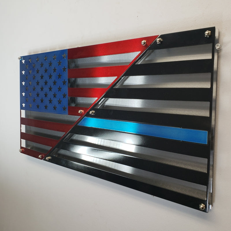 American / Blue Line Layered US Flag  / 2 Layered, Polished US Flag