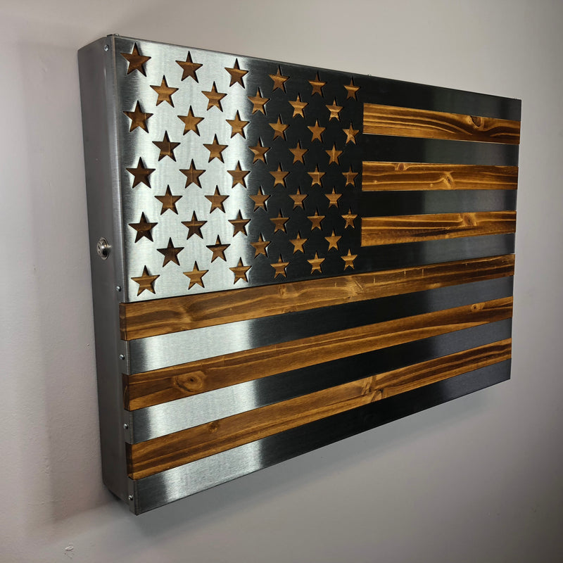 The Strong Box! All Steel, Locking Freedom Cabinet with a burnt and oiled steel US Flag