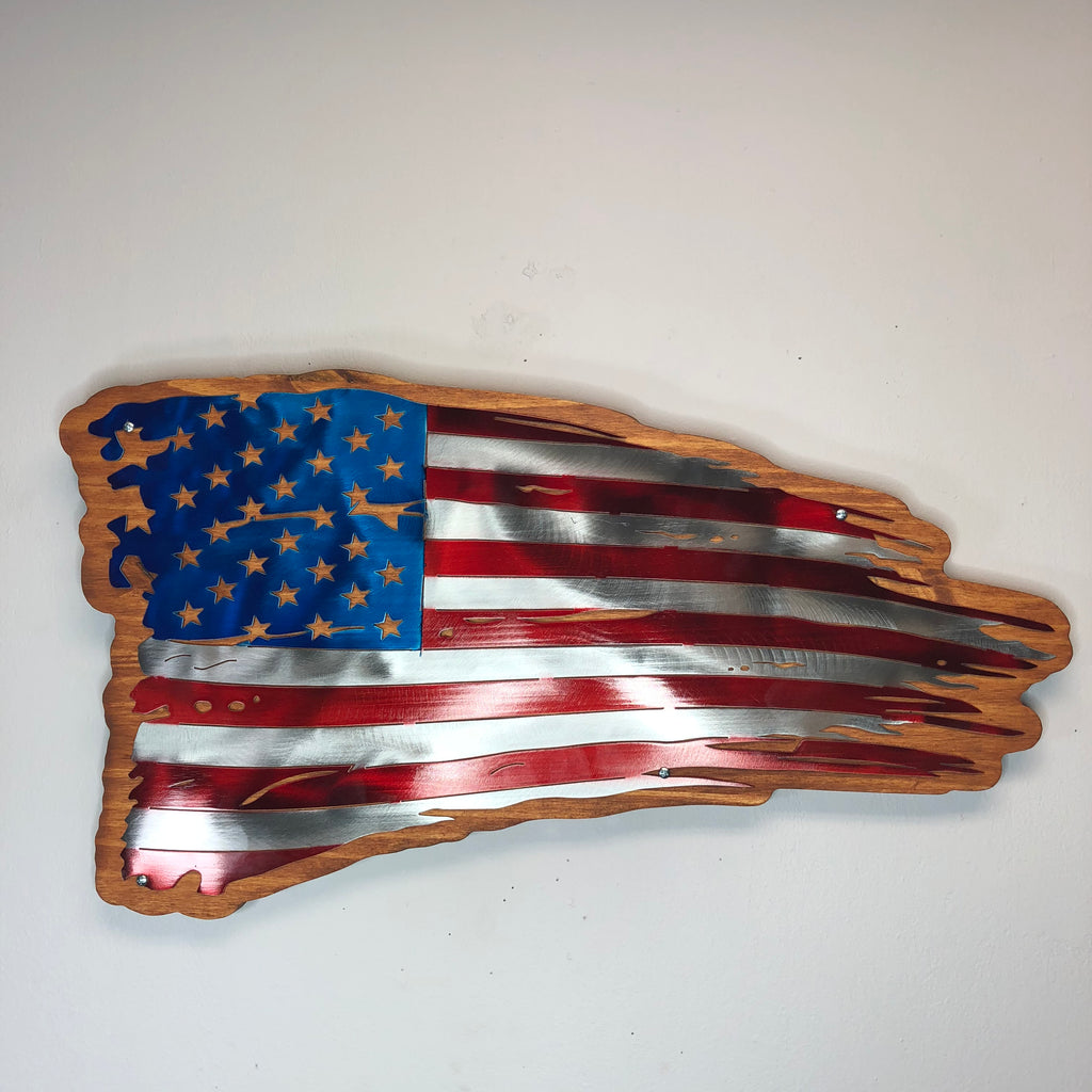 Pine mounted Old Glory