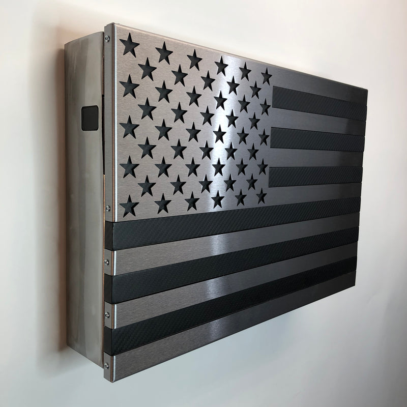 Carbon Fiber Strong Box Slider! All Steel, Locking Freedom Cabinet with a real Carbon Fiber and steel flag