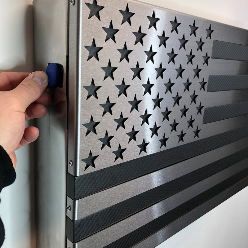 Carbon Fiber Strong Box Slider! All Steel, RFID or Biometric Locking Freedom Cabinet with a real Carbon Fiber and steel flag