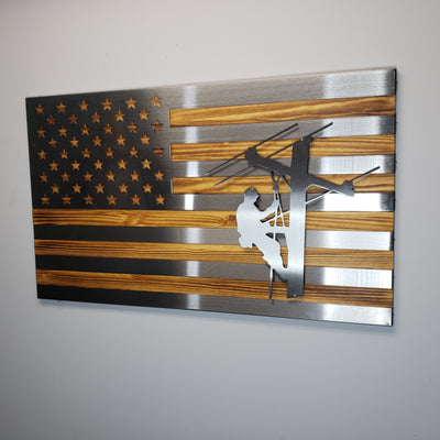 Lineman - Burnt Hand Oiled Pine and Polished Steel US Flag