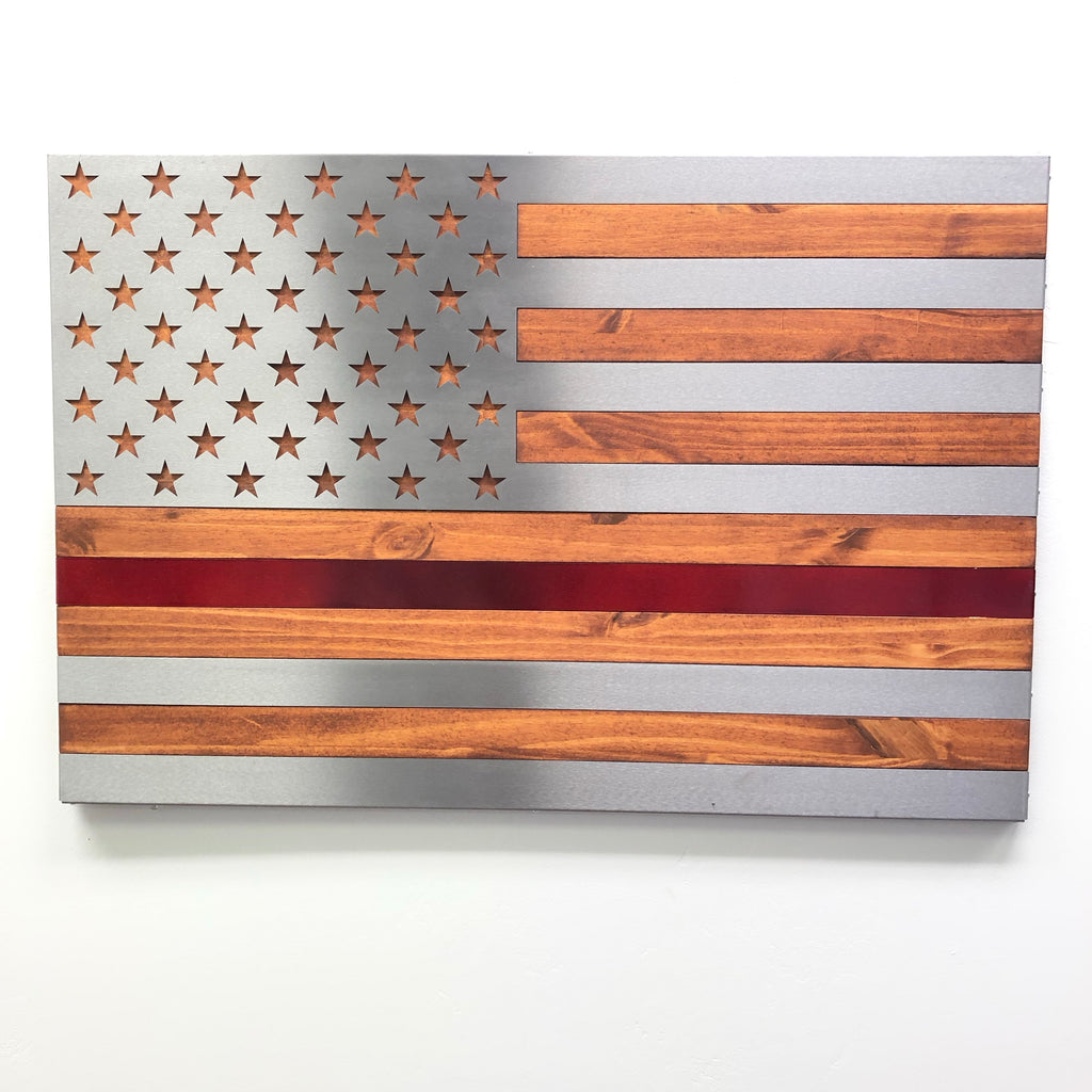 Burnt / Hand Oiled Pine and Polished Steel US Flag - RED LINE