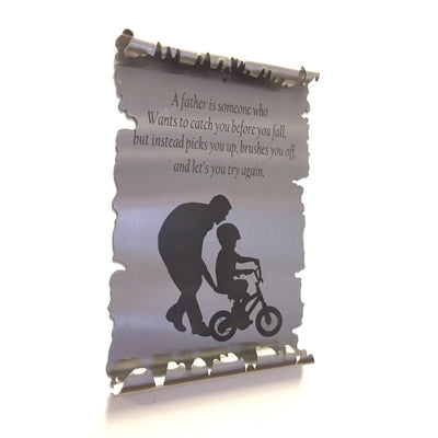 Father / Son Bicycle Metal Scroll