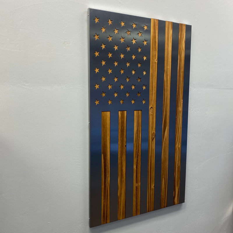 Vertical Burnt / Hand Oiled Pine and Polished Steel US Flag