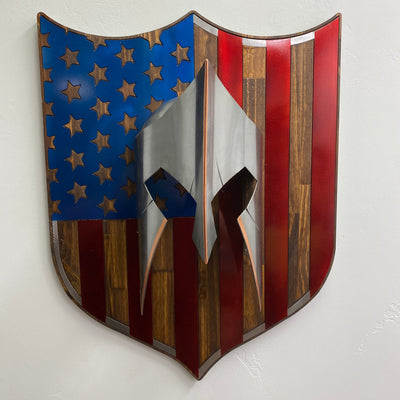 Mounted Spartan Helmet on Burnt, Hand Oiled Pine and Steel US Flag