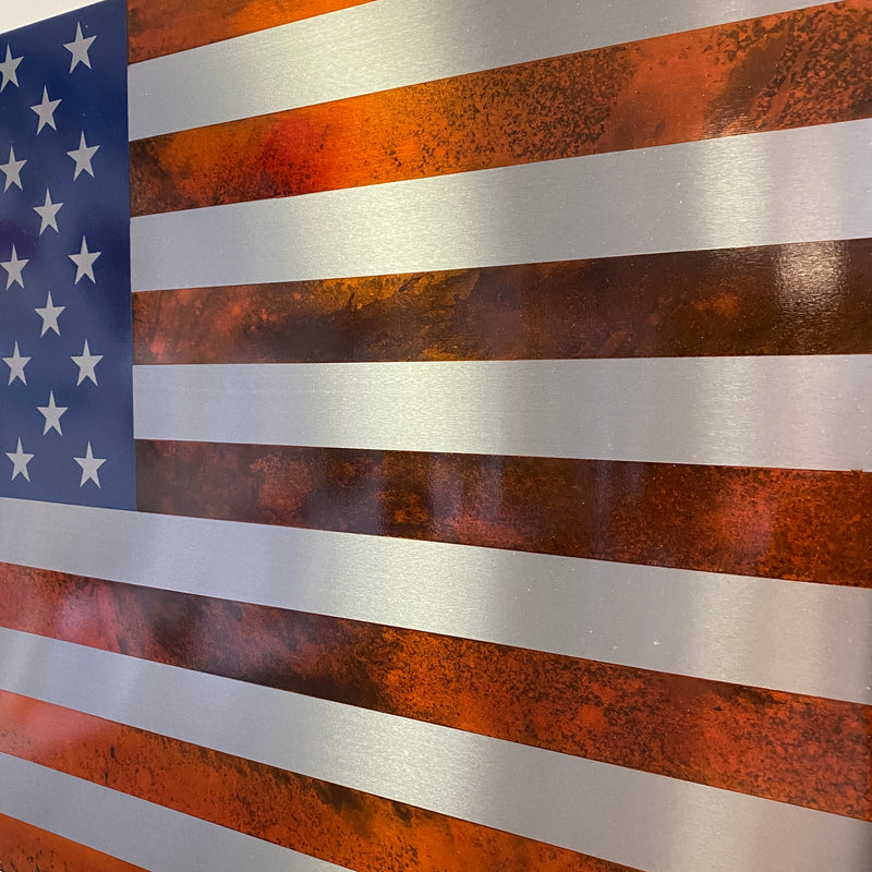 Aged Elite Collection / Stainless Steel Marbled Patina US Flag