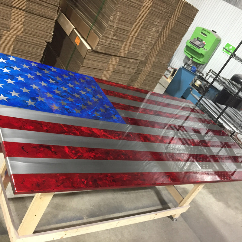 Standard Marbled Patina Steel US Flag