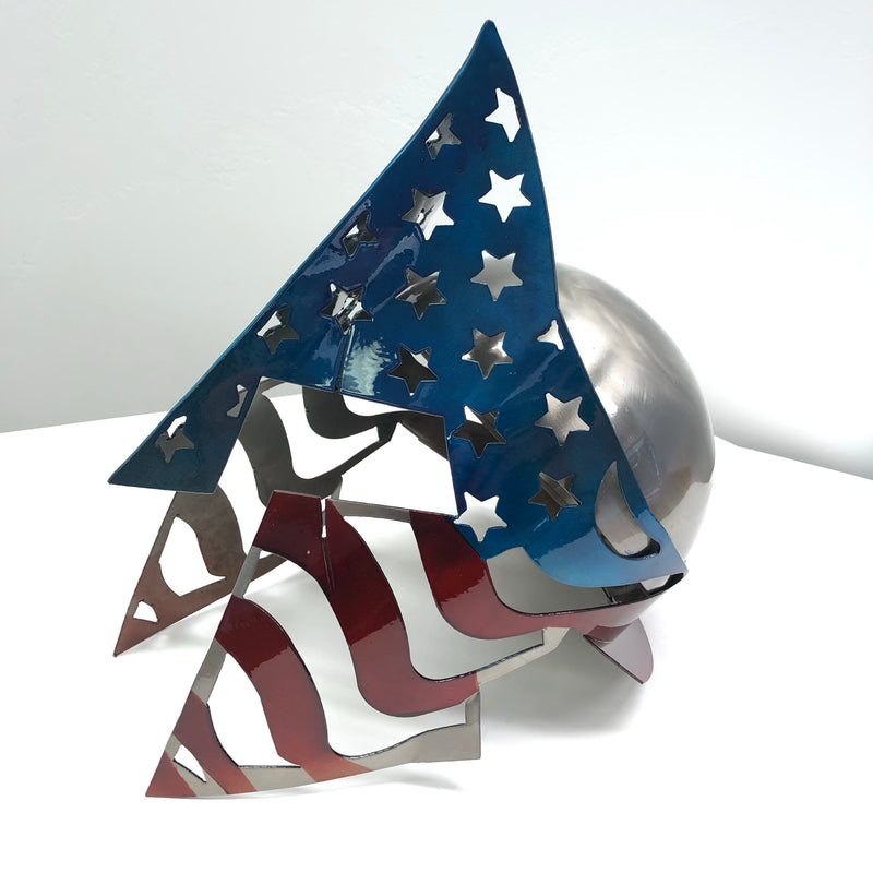 Stars and Stripes Steel 3 Dimensional Spartan Helmet