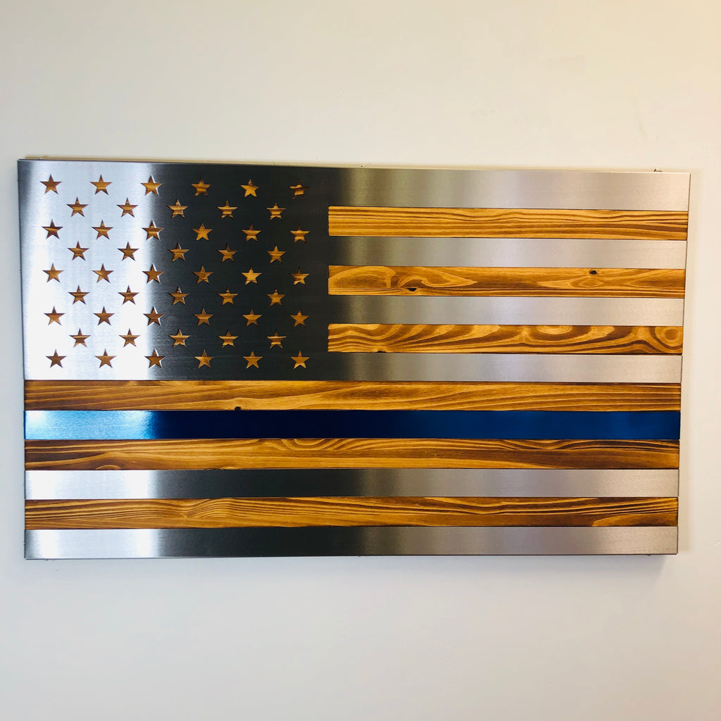 Burnt / Hand Oiled Pine and Polished Steel US Flag - THIN BLUE LINE