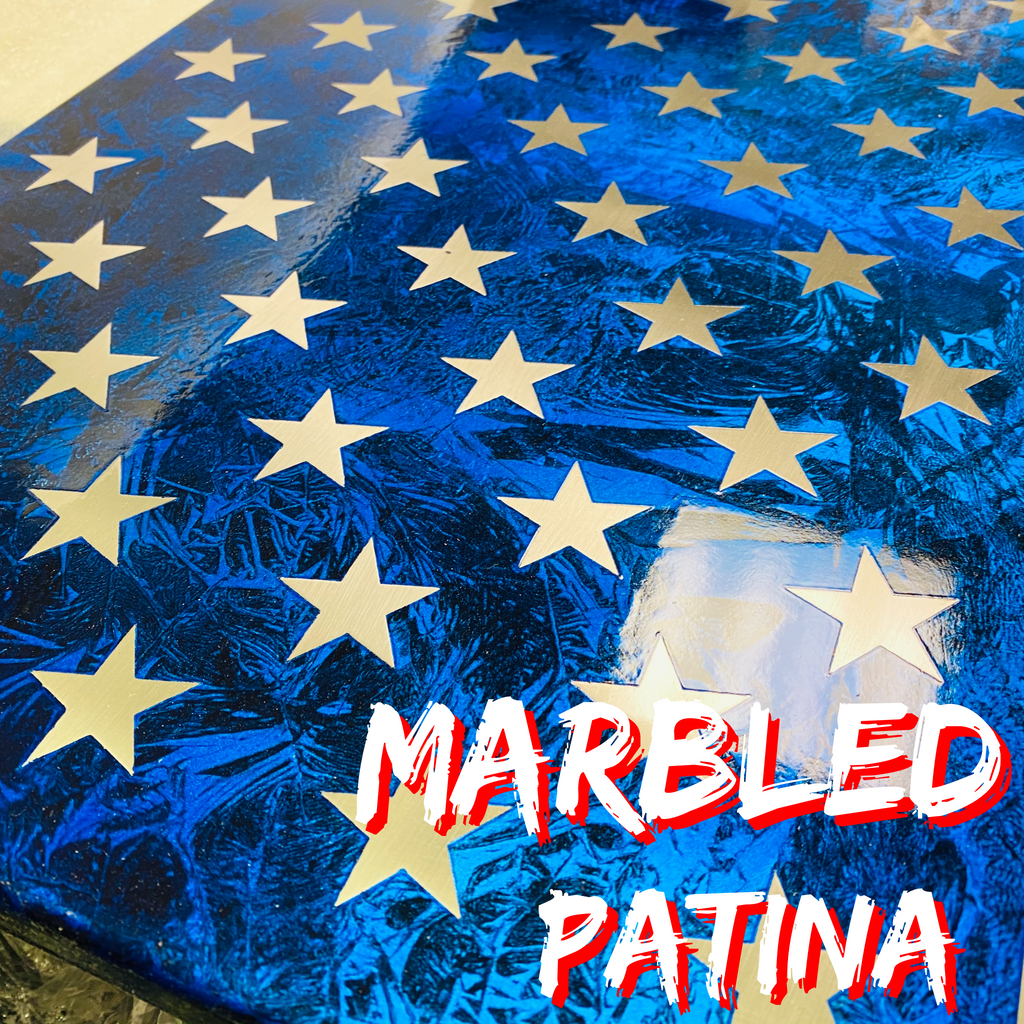 Marbled Patina Steel US Flag