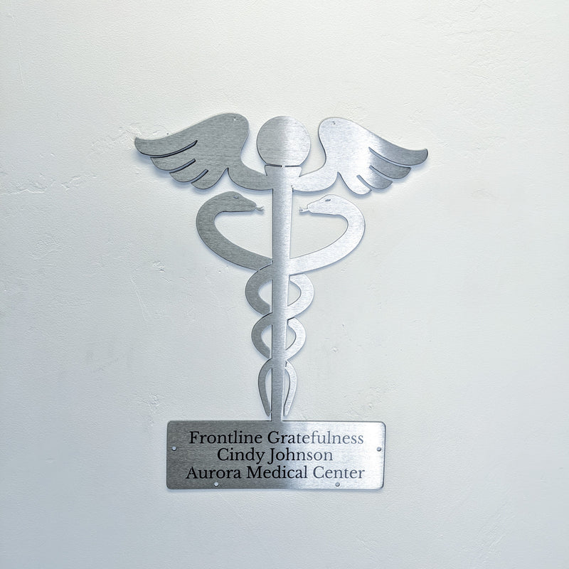 Personalized Laser Etched Caduseus Medical Symbol