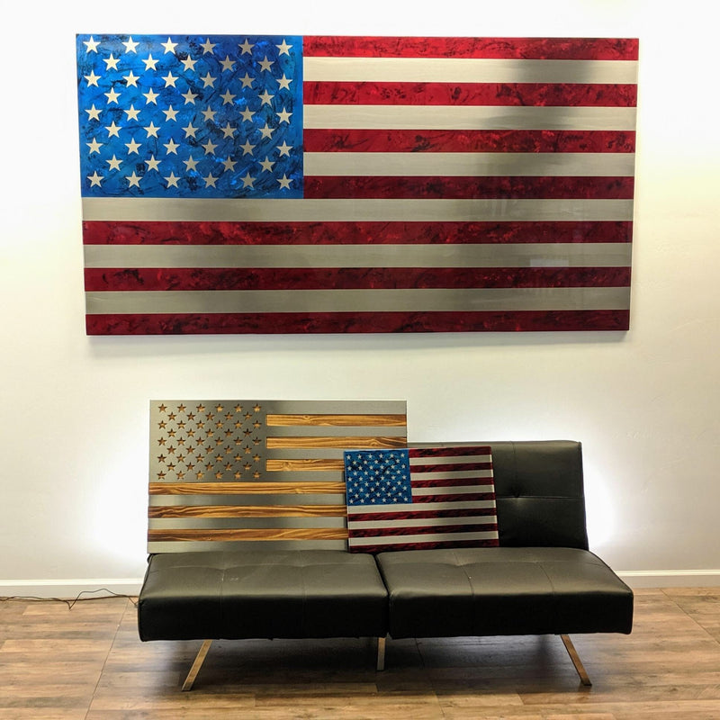 Elite Collection / Stainless Steel Marbled Patina US Flag