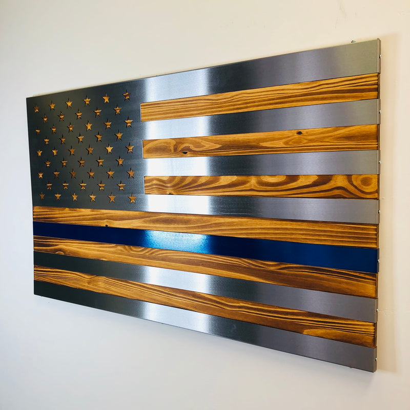 Thin Blue Line, 3 dimensional, Hand oiled pine, wrapped in a folded Polished US Flag