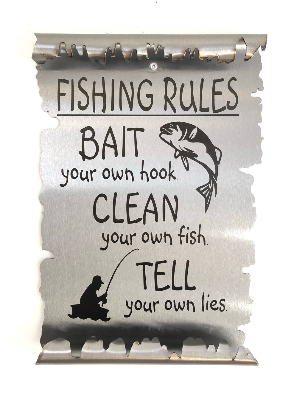 Fishing Rules Metal Scroll