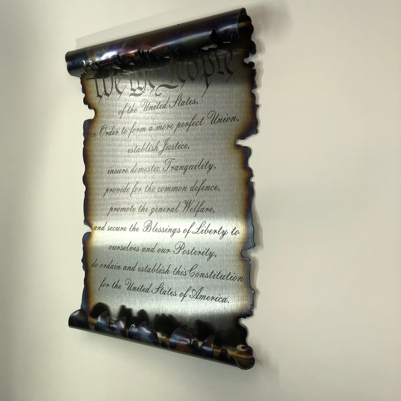 Burnt Metal Laser Etched United States Constitution Scroll