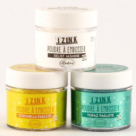 Izink Embossing Powder Set - Jasmine, Citronella And Topaz - 25ml Each