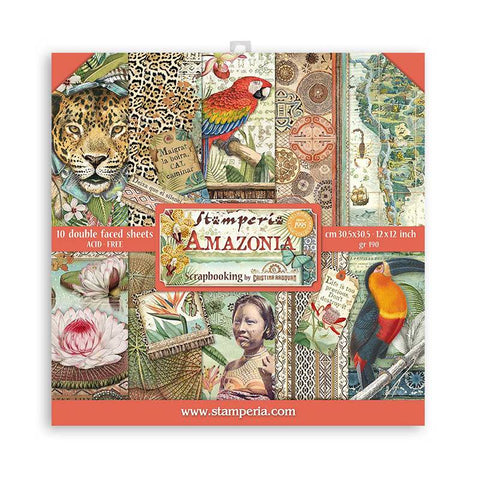 Stamperia Scrapbooking Pad 10 Double Sided Sheets (12″x12″) Amazonia