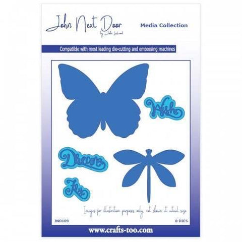JND Butterfly and Dragonfly with sentiment die set