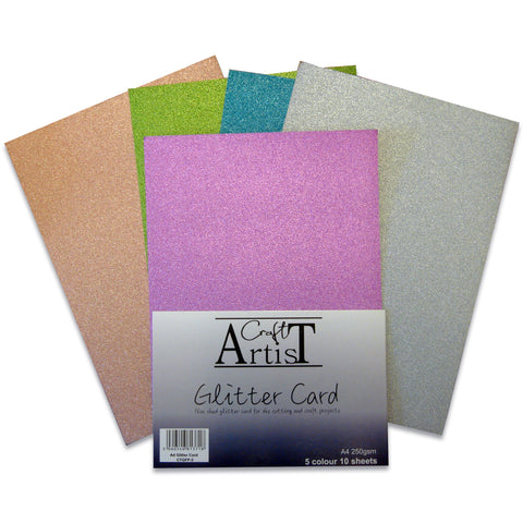 Craft Artist A4 Glitter Card - Cool Tones