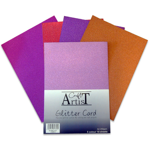 Craft Artist A4 Glitter Card - Warm Tones