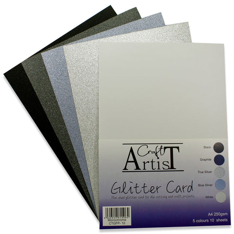 Craft Artist Monochrome Glitter Card