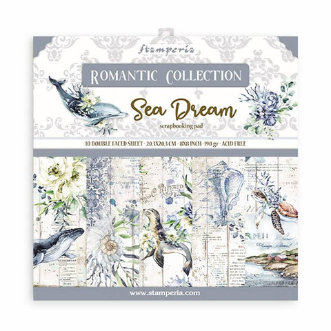 Stamperia Mini Scrapbooking Pad 10 Double Sided Sheets (8″x8″) Romantic Sea Dream