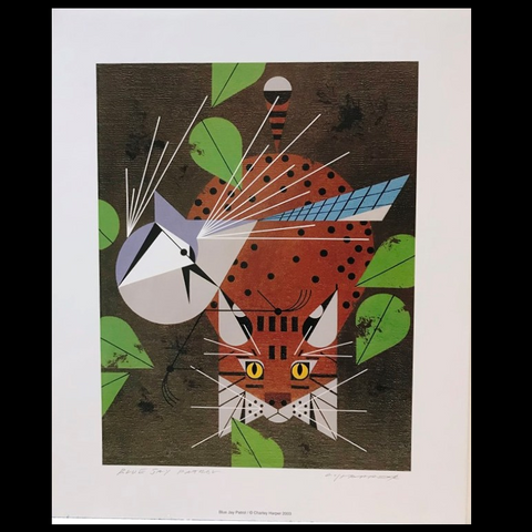 Charley Harper Blue Jay Patrol Lithograph Print