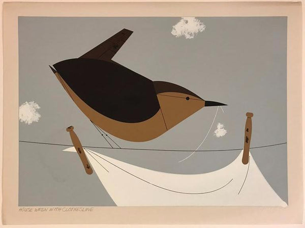 Charley Harper Ford Times Print House Wren On Clothesline