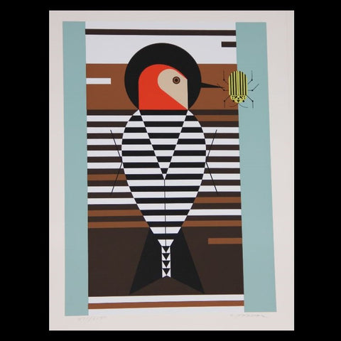 Charley Harper Serigraph Print Red Belly Woodpecker