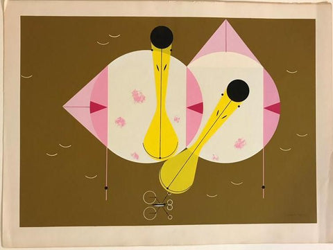 Charley Harper Ford Times Print Roseate Spoonbills (Hand Signed)