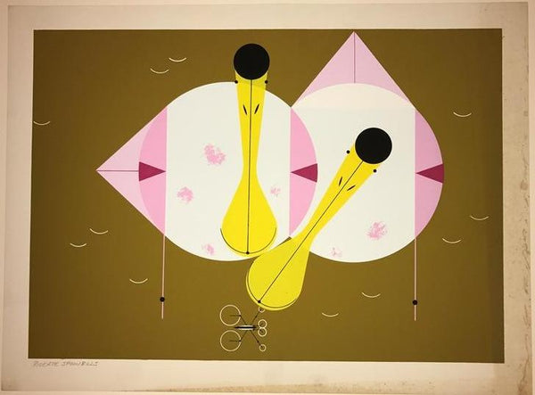 Charley Harper Ford Times Print Roseate Spoonbills