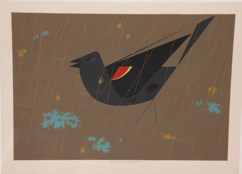 Charley Harper Ford Times Print Red Winged Blackbird
