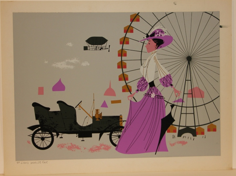 Charley Harper Ford Times Print 1904 St Louis World's Fair