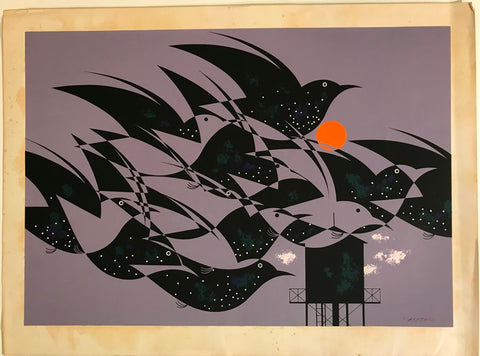 Charley Harper Ford Times Print Starlings (Hand Signed)