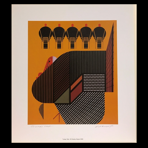 Charley Harper Lithograph Print Turkey Talk