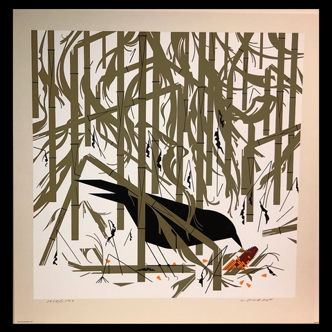 Charley Harper Serigraph Print Crow In The Snow