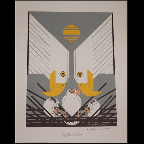 Charley Harper Lithograph Print Eagological Event