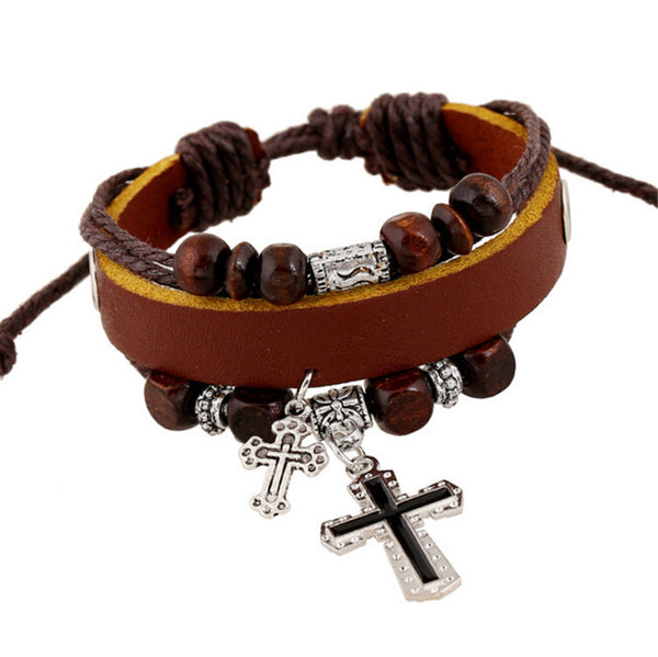 Vintage Leather Unisex Bracelet with Cross