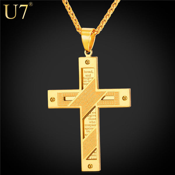 Stainless Steel Gold Color Cross Necklace For Men