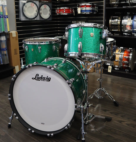 Ludwig Classic Maple FAB Green Sparkle drum kit Ludwig