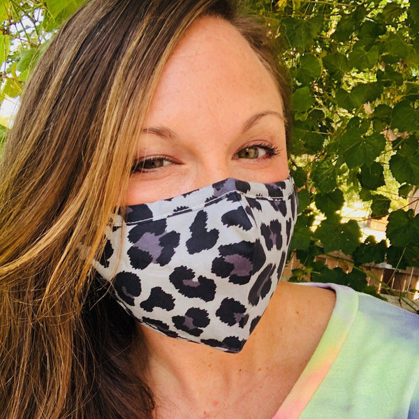 Bath And Body - Adult Everyday Filter Fabric Mask In Grey Leopard