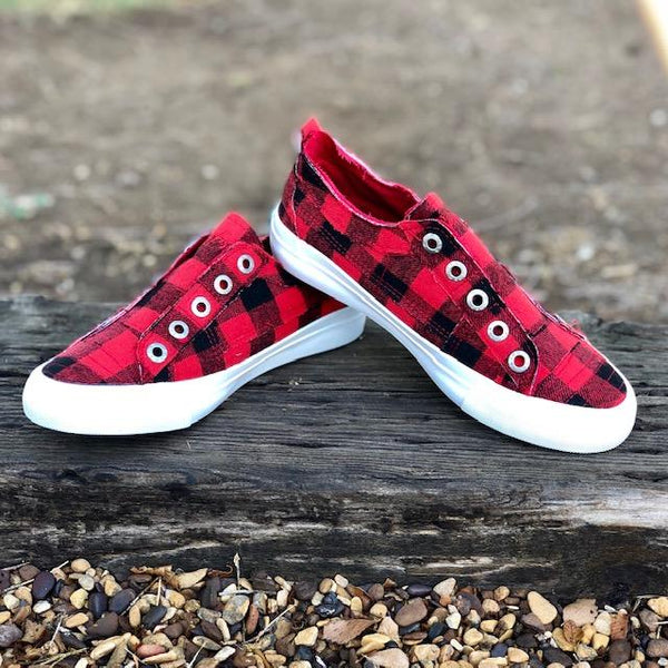 Shoes - Blowfish Play Sneakers In Red Buffalo Check